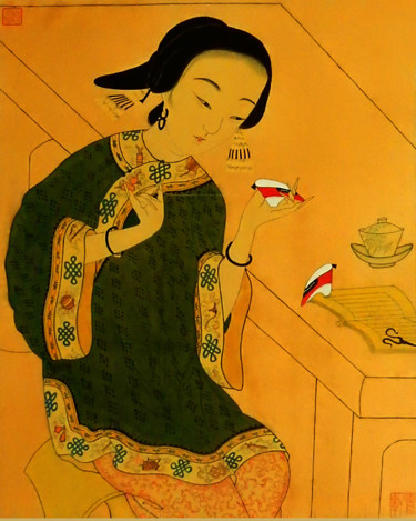 """Painting titled """"Chinese lady Stitch…"""" by Clement Tsang, Original Art, Watercolor"""