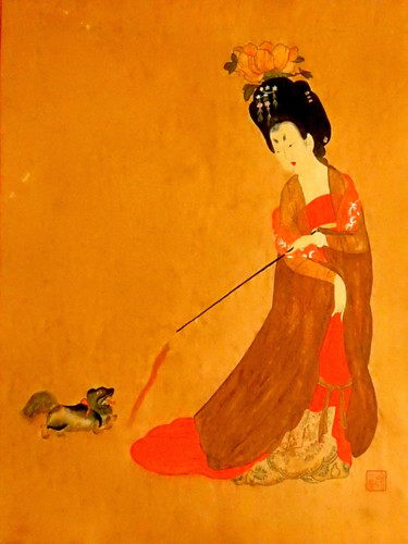"""Painting titled """"My Lady and Dog"""" by Clement Tsang, Original Art, Watercolor"""