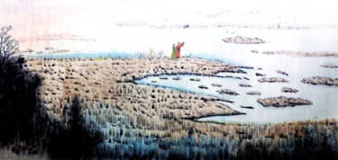 """Painting titled """"Landscape and Old M…"""" by Clement Tsang, Original Art, Watercolor"""