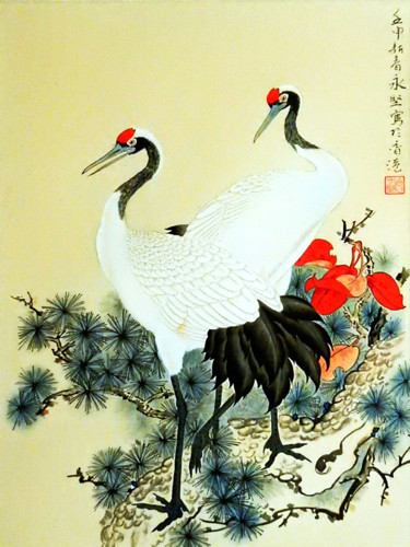 """Painting titled """"Red Top Crane on Pi…"""" by Clement Tsang, Original Art, Watercolor"""