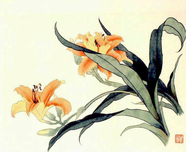 """Painting titled """"Yellow Flower"""" by Clement Tsang, Original Art, Watercolor"""