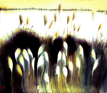 """Painting titled """"Wheat Field"""" by Clement Tsang, Original Art, Watercolor"""