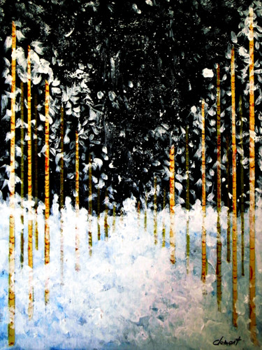 """Painting titled """"Snowing in Forest"""" by Clement Tsang, Original Art, Acrylic"""