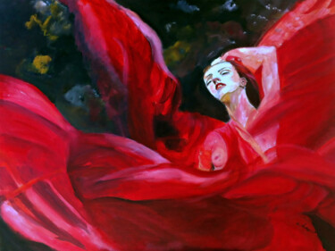 """Painting titled """"Lady in Red Silk"""" by Clement Tsang, Original Art, Acrylic"""