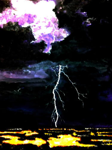 """Painting titled """"Lightning and Thund…"""" by Clement Tsang, Original Art, Acrylic"""