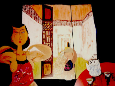 """Painting titled """"Mother and Child"""" by Clement Tsang, Original Art, Watercolor"""