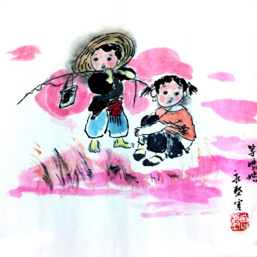 """Painting titled """"Waiting for Mother"""" by Clement Tsang, Original Art, Watercolor"""