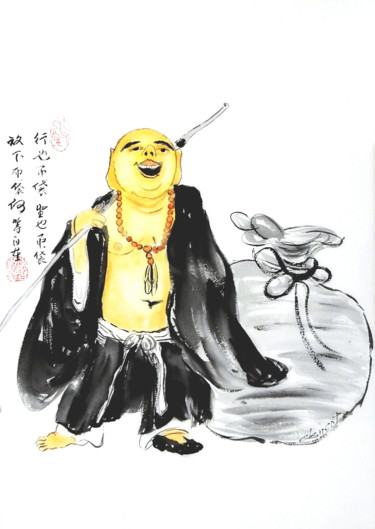 """Painting titled """"Happy Monk"""" by Clement Tsang, Original Art, Watercolor"""