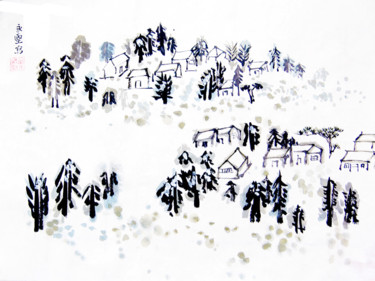 """Painting titled """"Snow in Canada"""" by Clement Tsang, Original Art, Watercolor"""
