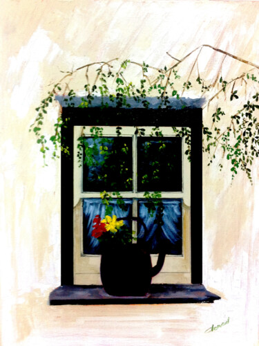 """Painting titled """"The Window Display"""" by Clement Tsang, Original Art, Oil"""