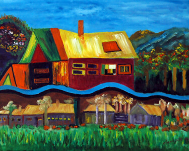 """Painting titled """"Village and Green F…"""" by Clement Tsang, Original Art, Oil"""