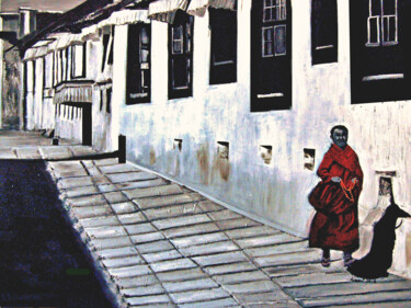 """Painting titled """"A monk walking in t…"""" by Clement Tsang, Original Art, Oil"""