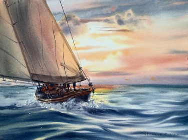 """Painting titled """"Fair winds #8"""" by Eugenia Gorbacheva, Original Art, Watercolor"""