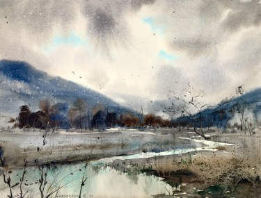 Mountainscape Painting, watercolor, abstract, artwork by Eugenia Gorbacheva