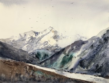 Mountainscape Painting, watercolor, expressionism, artwork by Eugenia Gorbacheva