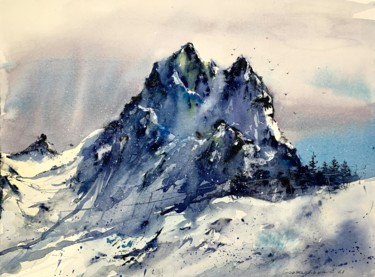 """Painting titled """"Snowy Mountains #3"""" by Eugenia Gorbacheva, Original Art, Watercolor"""