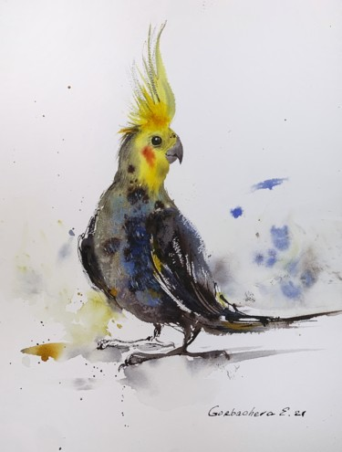 """Painting titled """"Parrot"""" by Eugenia Gorbacheva, Original Art, Watercolor"""