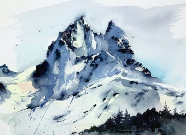 """Painting titled """"Snowy Mountains #4"""" by Eugenia Gorbacheva, Original Art, Watercolor"""