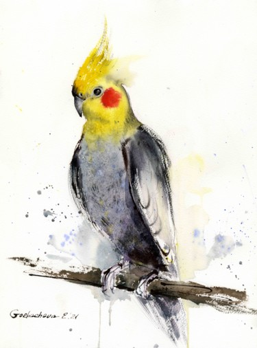 """Painting titled """"Parrot on a branch"""" by Eugenia Gorbacheva, Original Art, Watercolor"""