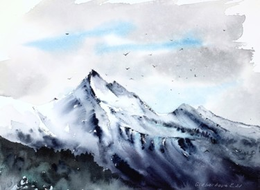 """Painting titled """"Snowy Mountains #5"""" by Eugenia Gorbacheva, Original Art, Watercolor"""