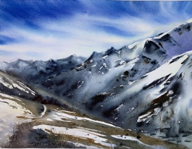 """Painting titled """"Snowy Mountains #6"""" by Eugenia Gorbacheva, Original Art, Watercolor"""