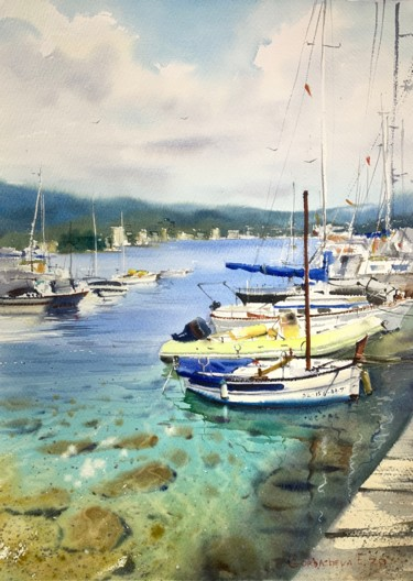 """Painting titled """"Boats at the pier (…"""" by Eugenia Gorbacheva, Original Art, Watercolor"""