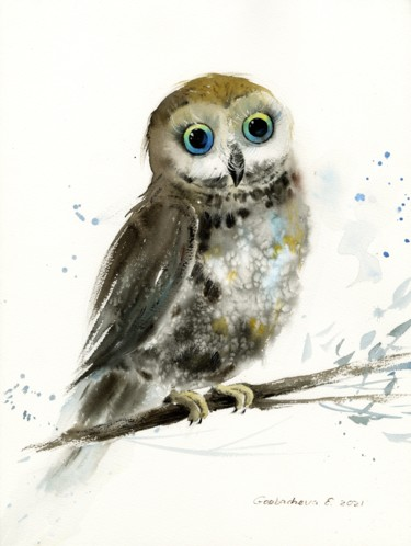 """Painting titled """"Little owl on a bra…"""" by Eugenia Gorbacheva, Original Art, Watercolor"""