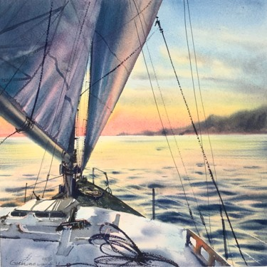 """Painting titled """"Under sail"""" by Eugenia Gorbacheva, Original Art, Watercolor"""