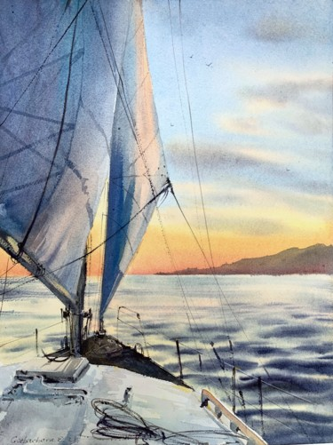 """Painting titled """"under sail #2"""" by Eugenia Gorbacheva, Original Art, Watercolor"""