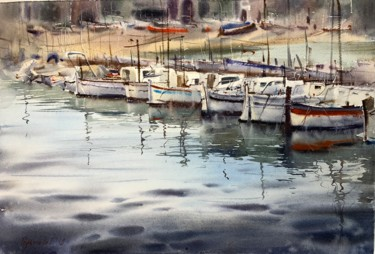 """Painting titled """"Boats at the pier #2"""" by Eugenia Gorbacheva, Original Art, Watercolor"""