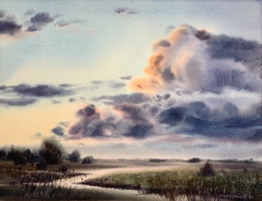 """Painting titled """"Clouds over the riv…"""" by Eugenia Gorbacheva, Original Art, Watercolor"""