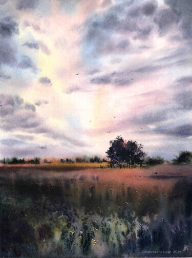 """Painting titled """"Sunset in the villa…"""" by Eugenia Gorbacheva, Original Art, Watercolor"""