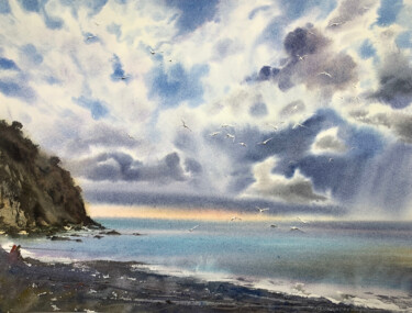 """Painting titled """"Seagulls over the s…"""" by Eugenia Gorbacheva, Original Art, Watercolor"""