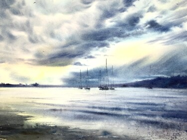 """Painting titled """"Yachts at anchor #7"""" by Eugenia Gorbacheva, Original Art, Watercolor"""