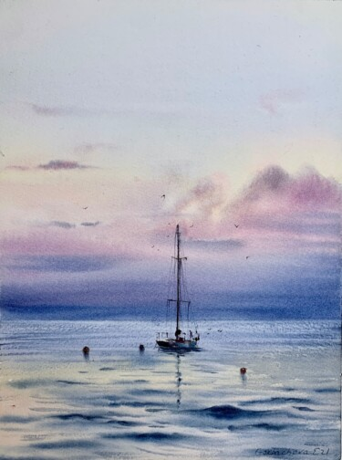 """Painting titled """"Yacht at anchor  #8"""" by Eugenia Gorbacheva, Original Art, Watercolor"""