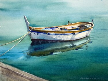 """Painting titled """"Boat at the pier #2"""" by Eugenia Gorbacheva, Original Art, Watercolor"""
