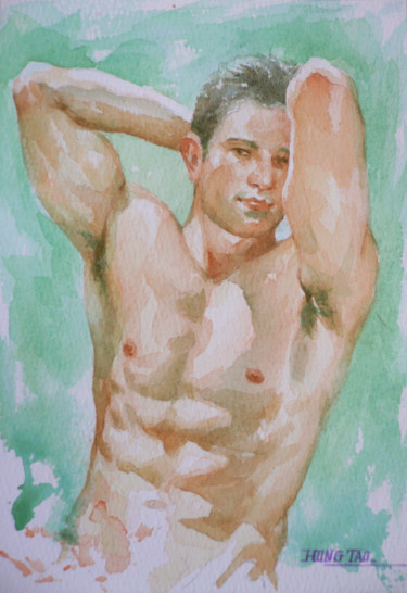 Masculine Painting, watercolor, impressionism, artwork by Hongtao Huang
