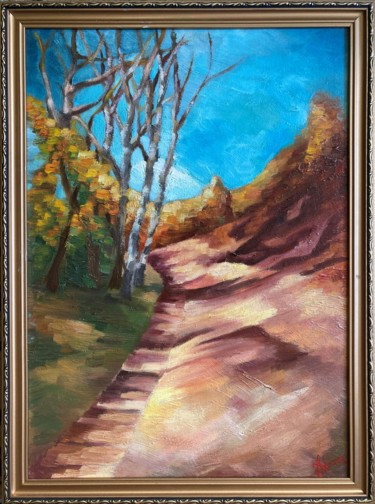 """Painting titled """"Path to autumn"""" by Horia Solomon, Original Art, Oil Mounted on Other rigid panel"""