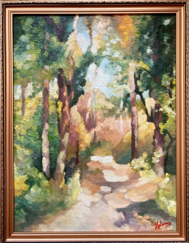 """Painting titled """"Early autumn in the…"""" by Horia Solomon, Original Art, Oil Mounted on Other rigid panel"""