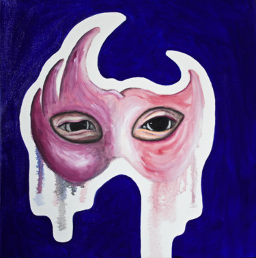 """Painting titled """"Behind the mask"""" by Labaud, Original Art, Oil Mounted on Stretcher frame"""