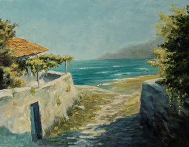 """Painting titled """"Old house by the sea"""" by Igor Makeev, Original Art, Oil"""