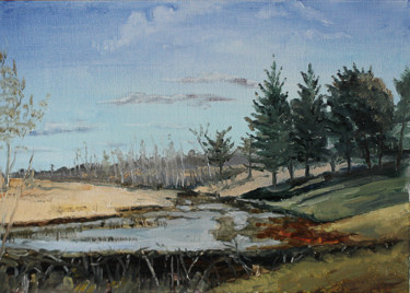 """Painting titled """"Lake and pine woods"""" by Iaroslav Hmelnitki, Original Art, Oil"""