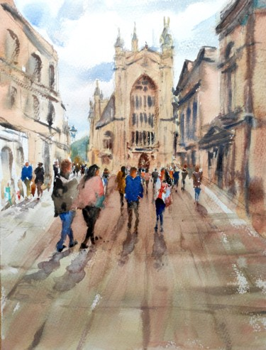 """Painting titled """"BATH CITY CENTRE, E…"""" by Ibolya Taligas, Original Art, Watercolor"""