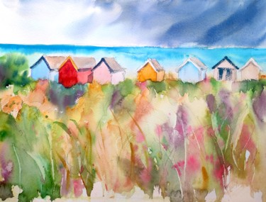 Landscape Painting, watercolor, expressionism, artwork by Ibolya Taligas