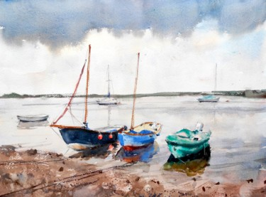 """Painting titled """"Boats on the North…"""" by Ibolya Taligas, Original Art, Watercolor"""