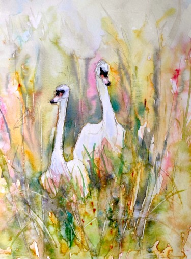 """Painting titled """"Best friends"""" by Ibolya Taligas, Original Art, Watercolor"""
