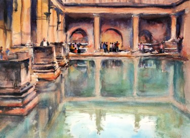 """Painting titled """"The Roman Baths in…"""" by Ibolya Taligas, Original Art, Watercolor"""