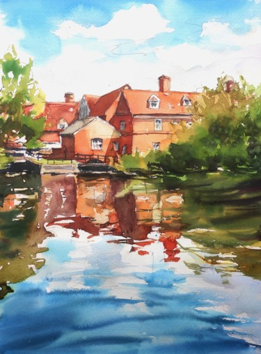 """Painting titled """"Flatford Mill refle…"""" by Ibolya Taligas, Original Art, Watercolor"""