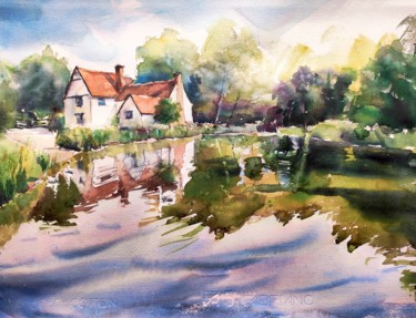 """Painting titled """"Willy Lott's Cottag…"""" by Ibolya Taligas, Original Art, Watercolor"""