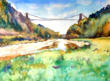 """Painting titled """"Clifton Bridge and…"""" by Ibolya Taligas, Original Art, Watercolor"""
